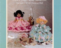 Scented Sweeties I, Fibre Craft Crochet Air Freshener Doll Clothes Pattern Booklet FCM351, Spring and Summer Dresses
