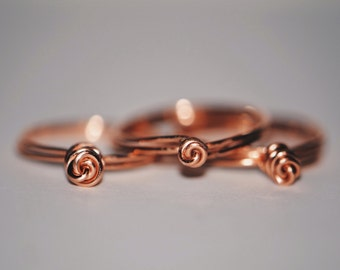 Set of 3 Rose Knot Rings
