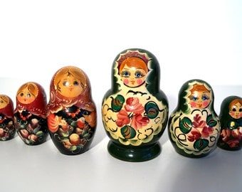 Six Vintage Russian Wooden Doll MATRYOSHKA.Hand Painted Doll.Soviet wooden souvenir/toylNesting Dolls,Nesting Doll Matryoshka,Folk Dolls