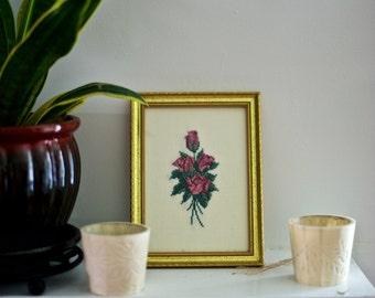 Vintage Floral Framed Cross Stitch