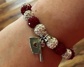 Oklahoma University crimson and cream rhinstone bead bracelet