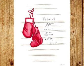 Boxing Gloves -Watercolor Illustration Print