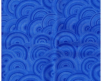 Fat Quarter, BLU864FQ, 100% Cotton Fabric, Blue-Tonal, Circular Design, Great For Quilting, Crafts, and more