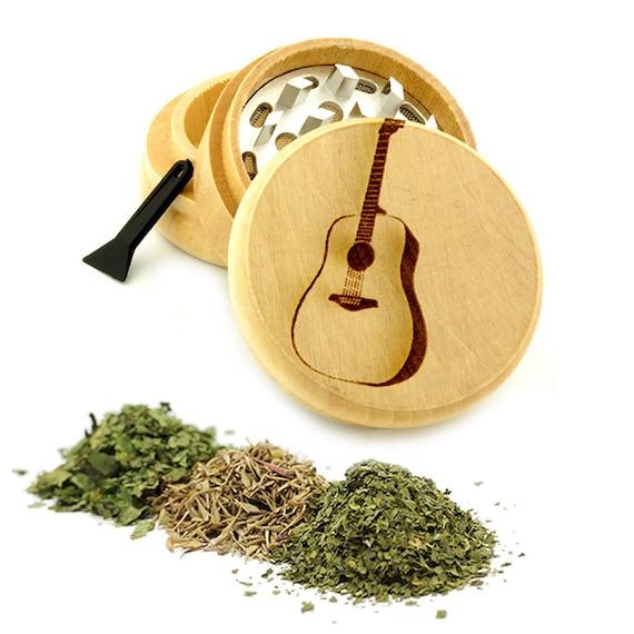 Guitar Engraved Premium Natural Wooden Grinder Item # PW61716-43