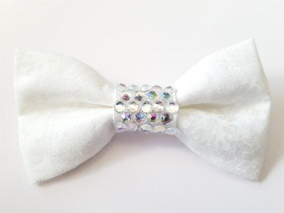 White Bling Christmas Snow Flake Bow for Cat or Small Dog Collars Matching Velcro Collar100% Sales Donated to Feeding Feral Cats Read in Bio
