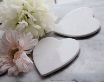 White Ceramic Heart-shaped Coasters