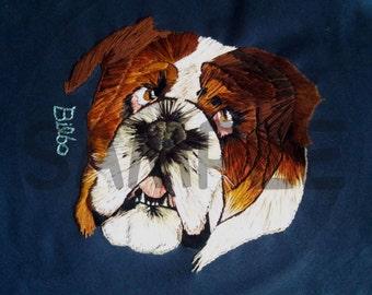 "Deluxe 12""x12"" Custom Embroidered Pet Portrait"