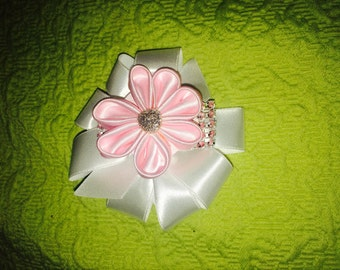 Pink and White Flower Hair Clip