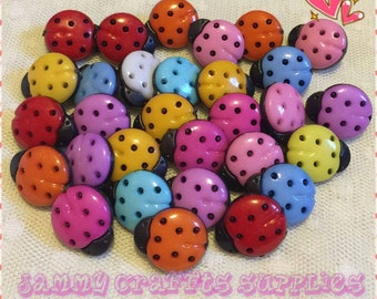 15 mm Ladybug Buttons/Colorful/Colorful Ladybug Buttons/Novelty Buttons/10 Buttons Set/Ladybug/Multiple Choice For Many Craft Projects