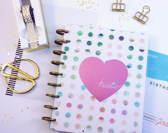 """Happy Planner / ECLP Cover: """"Hustle"""" / Metallic Type / Laminated / Typography / Regular / Large / Heart / Foil / Love / Dots / Mini"""