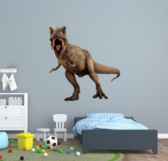 T-Rex Wall Graphic Jurassic Tyranosaurus Dinosaur Attack Prehistoric Dino Huge Sticker Decal Kids Room Man Cave Garage Den Art Decor