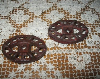 Two Vintage Garden Art Water Faucet Handles Cast Iron Old 1950's! #BV