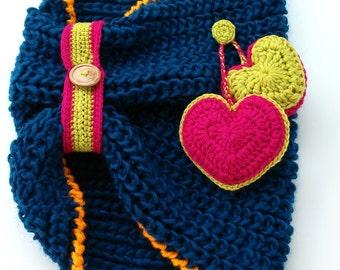 Collar of hearts wool - Wool Neckwarmer with crochet hearts