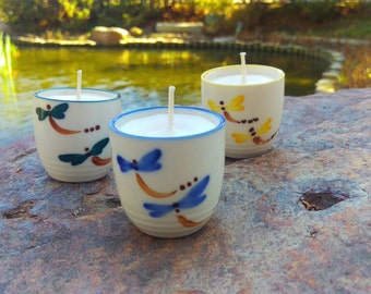 Lemon-Sage hand-poured candle trio in Dragonfly Cups