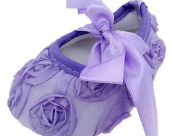 Lavender Rosette Crib Shoes