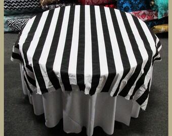 "White / Black Stripe 2"" Print Cotton Table Overlay [58"" X 58""] [72 X 72] Round [90""] [108""] [120""] [132""] Square Tablecloth Cover"