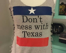 Don't Mess With Texas Gray Tee Cut Up Tank // M/L