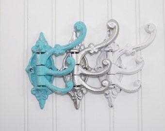 Cast Iron Swing Arm Hook /Coat Hook / Iron Wall Hook/ French Cottage /  Towel Hook/ Bath Hook / Entryway Hook