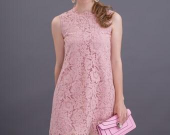 Sleeveless Aline lace dress