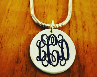 ON SALE!!! Sterling silver Monogram Pendant / Monogram necklace / monogram on tag / Sterling silver Monagram / personalized chain