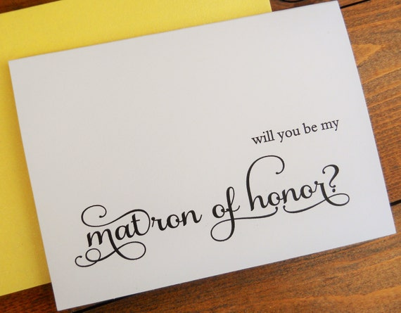 Will You Be My MATRON Of HONOR Card Shimmer Envelope