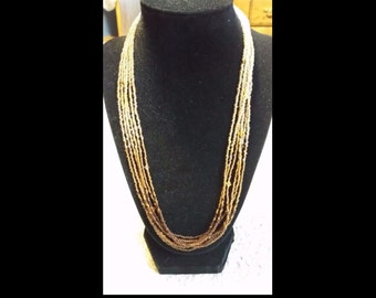 Handmade 6 strand Brown-gold-clear ombre seed bead necklace w/Swarovski elements & magnetic clasp