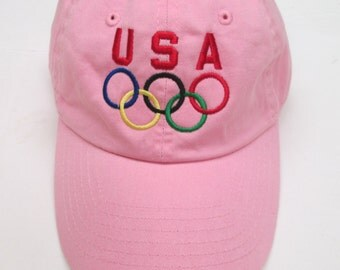 Pink USA OLYMPICS TEAM hat cap Pyeongchang , South Korea Winter Olympics Games 2018 low profile embroidered