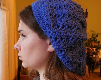 Ladies Slouch Hat in Sparkly Royal Blue