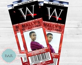 Wrestling Ticket Birthday Invitation/ Wrestling Ticket Invitation/ Wrestling All Access Pass