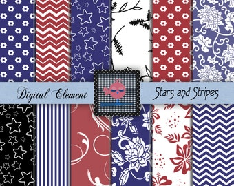 Digital Scrapbook Paper, Red White and Blue Paper, Stars and Stripes Digital Paper, Blue Stripe Paper, Red Chevron Paper. No. V102.DA