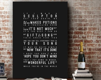 Elton John Your Song Inspired Lyrics Ellie Goulding Lyrics Love Song Wall Art Home Decor Anniversary Wedding Gift Typography Lyric PRINT
