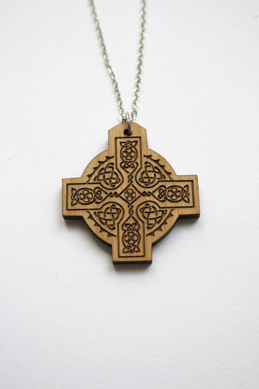 celtic cross pendant wooden necklace man or woman unisex. Black Bedroom Furniture Sets. Home Design Ideas
