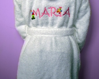 Personalized Kids Hooded Terry Toweling Bathrobe - White and blue / pink