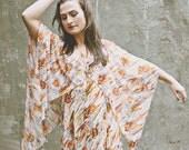 Vintage Abstract Patterned Floor Length Mumu with Kimono Sleeve 1970s, US 4 - 6
