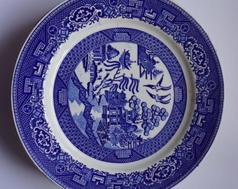 Vintage Johnson Brothers Blue Willow Transferware Bread Plate