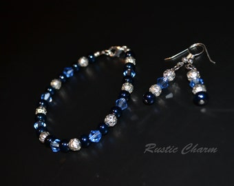 Blue Crystal and Glass Bracelet