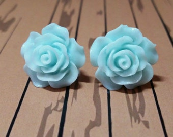 Large Flower Earrings, Large Rose Earrings, Large Blue Rose Studs, Light Blue Earrings, Flower Earrings, Flower Jewellery