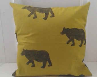Hand-printed Bear Print Cushion in Chartreuse Golden Green and Charcoal