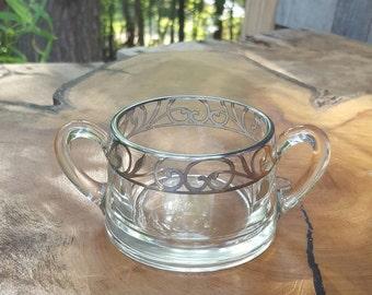 Silver Overlay Glass Sugar Bowl Dish