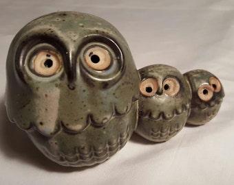 """Owl Family Trio """"California Stoneware by Suzi"""""""