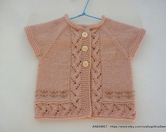 Knitted baby cardigan/newborn cardigan/knitted baby vest/knitted baby clothes/3-6m