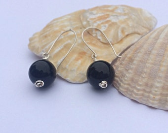 Black Onyx Wire Wrapped Earrings, Sterling Silver, Drop Earrings