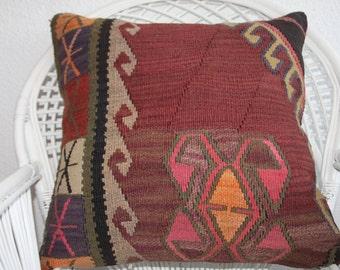 24x24 kilim pillow,turkish pillow,oriental kilim pillow,kurdish kilim pillow,vintage kilim rug pillow floor cushion black and burgundy 310