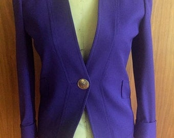 Amen Wardy, private label Rodeo Drive, Purchased for 3,800.00, size 6, purple, gold, matching skirt suit, 100% wool