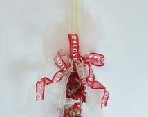 """15"""" Easter Double Greek Candle Lambada Decorated with a Heart Charm and Love Red Ribbons"""