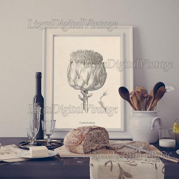Artichoke, Kitchen print, Artichoke print, Kitchen wall art, Home wall art, Kitchen printable, Instant download, 8x10, 11x14, A3, JPG PNG