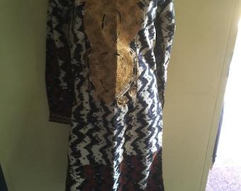African Batik Embroidered Dress