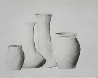 Vases Original Drawing