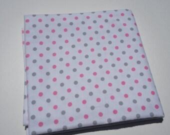 Polka Dot Receiving Blanket, Baby Blanket, Flannel Blanket, Swaddle Blanket, Gray and Pink, Polka Dot Blanket, Extra Large Baby Blanket