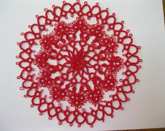 Handmade 8 Inch Red Tatted Lace Doily